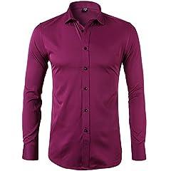 Idea Regalo - Camicia Elastica di bambù Fibra per Uomo, Slim Fit, Manica Lunga Casual/Formale, Rosso, S