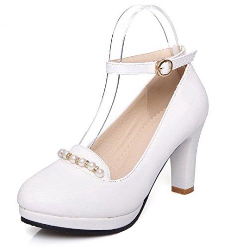 VogueZone009 Femme Boucle à Talon Haut Couleur Unie Chaussures Légeres Blanc