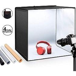 """ESDDI Tente de Tir 20""""X20"""" X20""""/ 50x50x50 cm Boîte à Lumière Photo Studio Portable Pliant Crochet & Loop Photographie Kit d'Eclairage avec 120 Lumières LED Kit Softbox avec 4 Couleurs Toiles de Fond"""