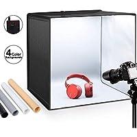 ESDDI Estudio fotográfico portátil 50x50x50cm con asa y luz Regulable de 120 LED para fotografía con 4 Fondos de Colores