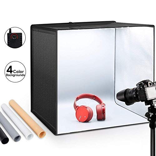 ESDDI Lightbox Fotografico 50x50x50 cm Set Fotografico Portatile con 5500K-6000K LED Dimmerabile,Photo Studio Box con 4 Colori di Panno in PVC,Shooting Tenda Fotografico Scatola Kit di Professionale
