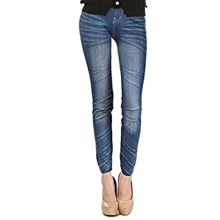 AFUT Imitated Jeans,Leggings Womens Skinny Stretchy Jeggings Pants Printed Jeans Blue
