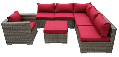 Nwn Sofa d'angle carré extérieur avec chaise (Couleur : B)