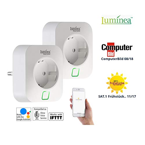 Luminea Home Control Energiekostenmessgerät: 2er-Set WLAN-Steckdosen, Amazon Alexa & Google Assistant komp, 16 A (Strommessgerät)