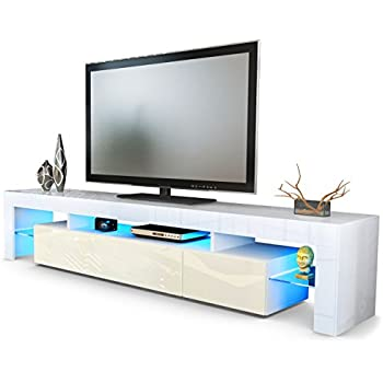 Tv stand unit lima v2 carcass in white front in cream for Cream kitchen carcasses