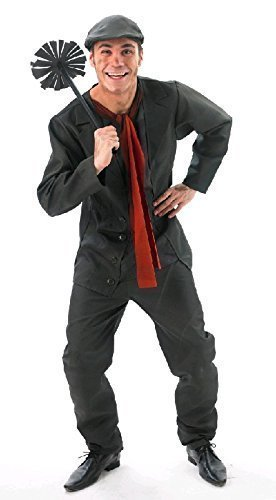 Viktorianischen Herren Kostümen (Offiziell Disney Herren Bert der Schornsteinfeger Viktorianisch Büchertag Kostüm Kleid Outfit STD & XL - Schwarz, Schwarz,)