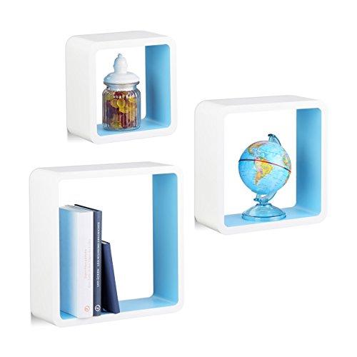 Relaxdays 10021793_362 set 3 mensole da muro, cubi da parete, forma quadrata, per cameretta, cucina, legno mdf, bianco/blu