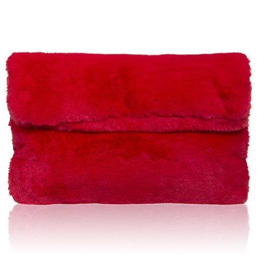 xardi London New Frauen Fell Slouch Clutch weicher Ball Party Designer Damen Abend Handtaschen, rot - rot - Größe: M