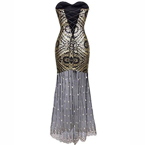 Babeyond Damen Bustier Maxi Kleid Abschlussball Kostüm Brautjunfer Langes Frauen Flapper Abbildung 2