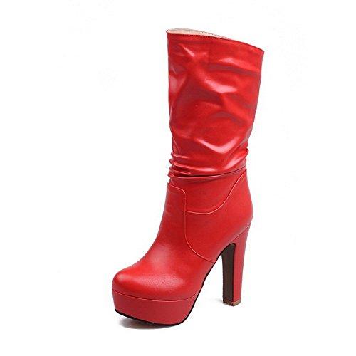 VogueZone009 Donna Puro Tacco Alto Punta Tonda Luccichio Tirare Stivali Rosso