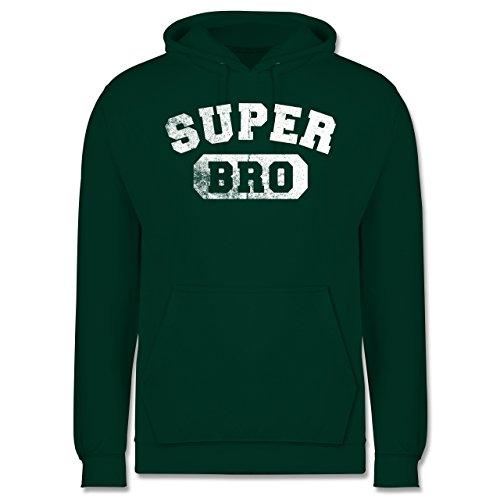 Bruder & Onkel - Super Bro - Vintage-&Collegestil - Männer Premium Kapuzenpullover / Hoodie Dunkelgrün