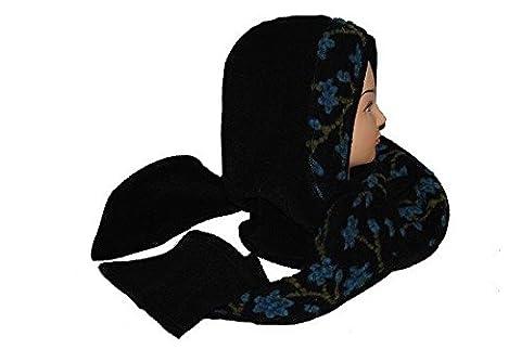 schwarz Kapuzenschal Fleece Schal Schalmütze schwarz türkis turkis blau