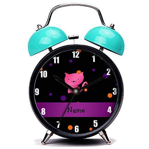 girlsight Blauer Wecker, Nette Katze Personalisierte Name Katze Halloween Polka Dots Twin Bell Wecker mit Nachtlicht