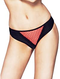 Womens Mio Sexy Black and Red Embroidery Sheer Ladies Panties Brief NWT