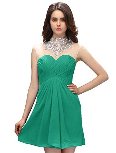 Dressystar Robe femme, Robe de bal/soirée courte à col en cœur, avec un collier de strass, en mousseline Vert
