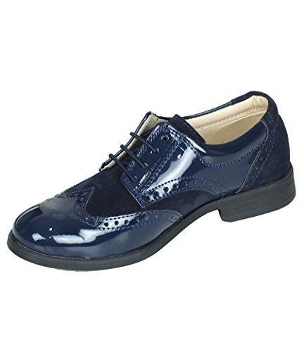 Jungen Brand Neu Marine Wildleder & Patent Formelle Brogue Halbschuhe - Marine, Kids UK 10 - EU28 (Blau Leder Patent Schuhe Marine)