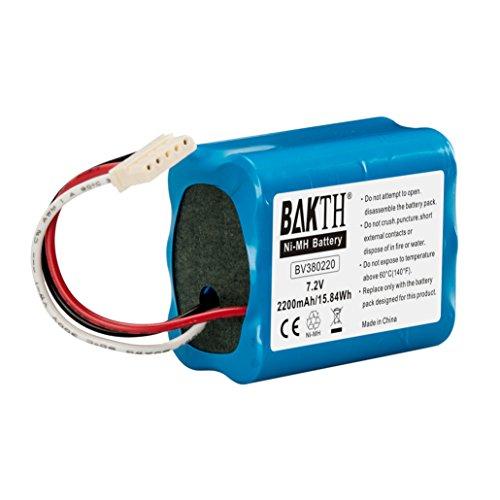 BAKTH Batterie NiMH 2200mAh 7.2V Capacité réelle pour iRobot Braava 380T, Braava 380t, MINT Plus 5200, 5200C