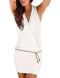 Vestiti Donna Eleganti Estivi Corti V Scollo Senza Maniche Vestito Mare  Puro Colore Slim Casual Young Fashion Abito… 76814468aa4