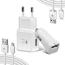 Axmda cargador de pared Galaxy S6,Cargador de Coche cable micro usb carga rapida para Samsung S7/S7 Edge/S6/S5,Tab 3, Note 4/3/2, Sony, LG, Cámaras, Dispositivos Android y más