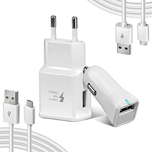 Adaptive Micro USB Schnellladegerät Kit Samsung s7/S7 Edge, Axmda KFZ Quick Charge Ladegerät Mit kabel für Samsung Galaxy S6 S6 Edge / Note 4/ 3 (Wandladegerät + Auto-Ladegerät + 2 x Micro USB Kabel)