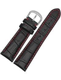 18mm 19mm 20mm 21mm 22mm 23mm 24mm Black Genuine Leather Watchband Watch Strap Bracelet Men with Red Stitching 21mm