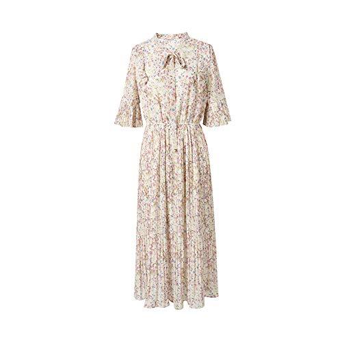 Floral Pleated Skirt (UOYJN Woman Dress Floral Skirt Female Pleated Skirt Summer Dress Sleeves Summer Print Chiffon Dress Female)