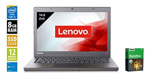Lenovo ThinkPad T440 | Notebook | Laptop | 14,0 Zoll (1600x900) | Intel Core i5-4300U @ 1,9 GHz | 8GB DDR3 RAM | 250GB SSD | Webcam | Windows 10 Home (Zertifiziert und Generalüberholt) - Die Aus Dem Leasing Thinkpad