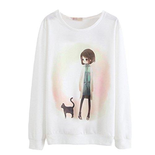 Kawaii Kleines Mädchen Mit Schwarze Katze Hoodie Hand Gemalt Anime Sweatshirt Für Damen (Hoodie Anime-kinder)