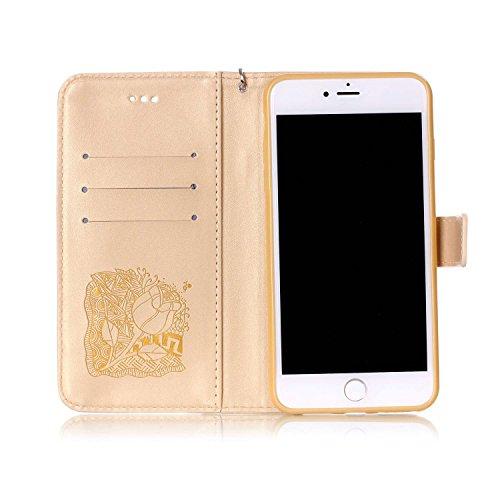 """MOONCASE iPhone 7 Plus Coque, Bling Crystal Diamond Gaufrage Motif Portefeuille Housse en PU Cuir Étui de Protection Case pour iPhone 7 Plus (5.5"""") (Campanule Marron) Rose Or"""