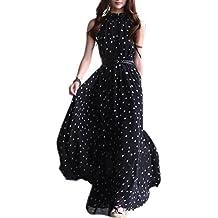 TOOGOO(R) Vestito Lungo Maxi da Donna in Chiffon da Donna Senza Maniche con 308af461363