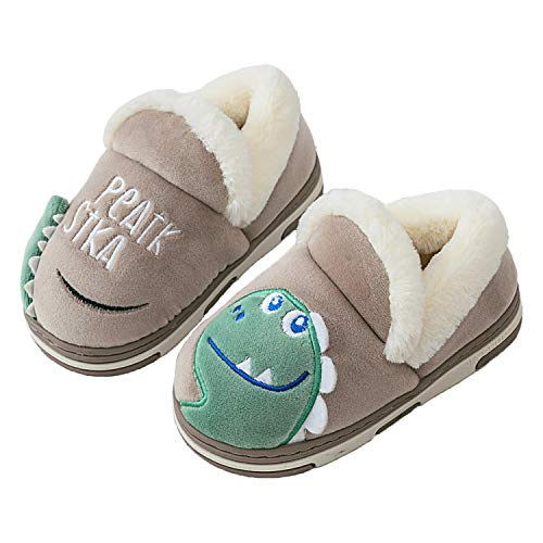 Gainsera Winter Slippers Boys Girls House Shoes Kids Children Cartoon Dinosaur Warm Anti-Slip
