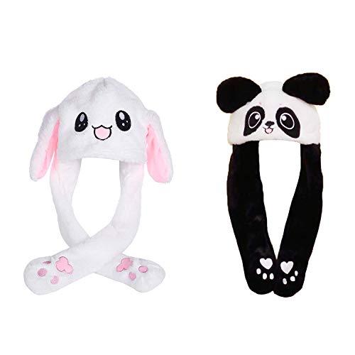 Häschen Kaninchen Kostüm - 2 Pcs Beweglicher Ohr-Kaninchen-Hut, Netter Panda-Hut Plüsch Bunny Ohren Stirnband Halloween Tier Ostern Cosplay Kaninchen - Lustige Plüsch-Häschen-Hut-Kappe mit Den Ohren(Kaninchenform + Pandaform)
