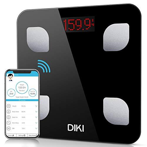 Bilancia Pesa Persona Digitale, DIKI Bilancia Pesapersone Profesionale Wireless per IOS e Android, Bilancia Diagnostica smart Bluetooth con Utenti Illimitati, Misura 8 Parametri Corpore, 5kg-150kg