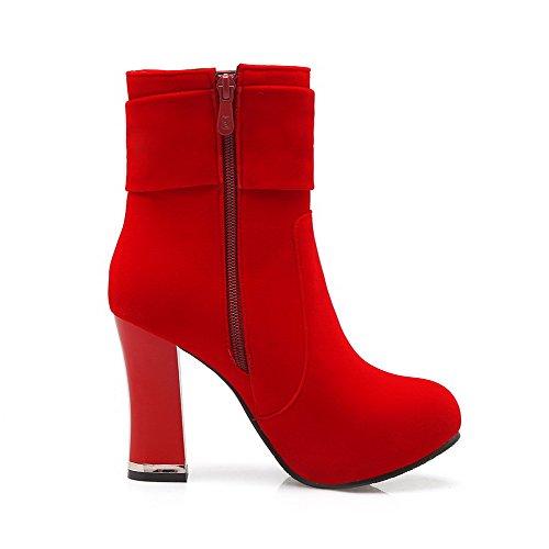VogueZone009 Donna Tallone Spesso Bassa Altezza Puro Stivali con Ornamento Di Metallo Rosso