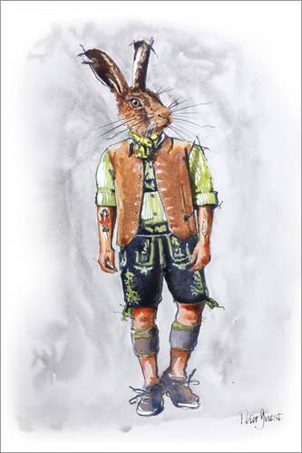 Stampa su tela 100 x 150 cm: dude rabbit di peter guest - poster pronti, foto su telaio, foto su vera tela, stampa su tela