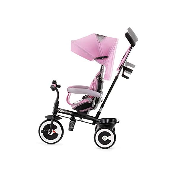 Kinderkraft Aveo KKRASTOPNK0000 Tricycle with Accessories in 3 Colours Pink kk KinderKraft Five point safety straps for the shoulders and an additional strap between the legs to protect the child from falling out A mechanism that connects the parent handlebar with the child's handlebar so that parents can have full control over the bike guidance when required. Free-wheel that causes the child to rmble freely regardless of the person who leads the bike 6