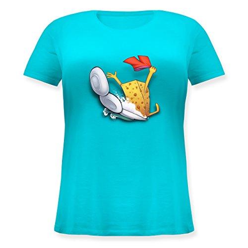 Comic Shirts - Spülschwamm - Wasserrutsche - L (48) - Hellblau - JHK601 - Lockeres Damen-Shirt in großen Größen mit Rundhalsausschnitt