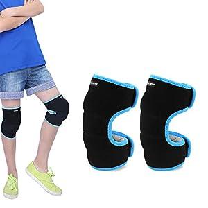 EULANT Kinder Kniebandage, Kinder Dicke Schwamm Knieschoner mit Klettverschluss für Fußball Laufen Tanzen Wrestling Volleyball Basketball Mountainbiken Kampfsport