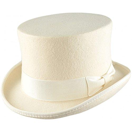 Sombrero de copa 100% lana Blanco blanco Medium