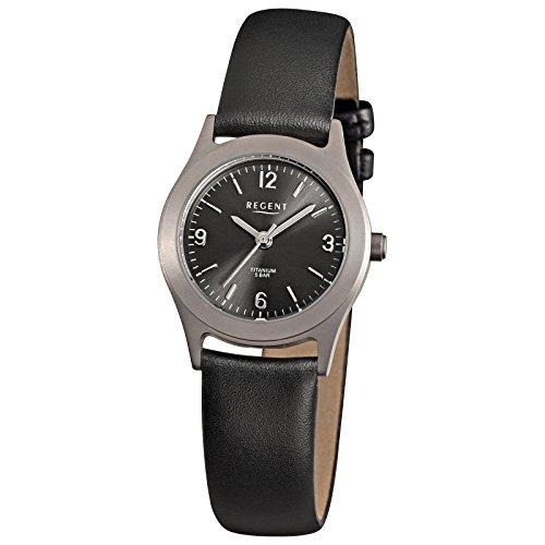 Regent Damen-Armbanduhr Elegant Analog Leder-Armband schwarz Quarz-Uhr Ziffernblatt anthrazit schwarz URF872