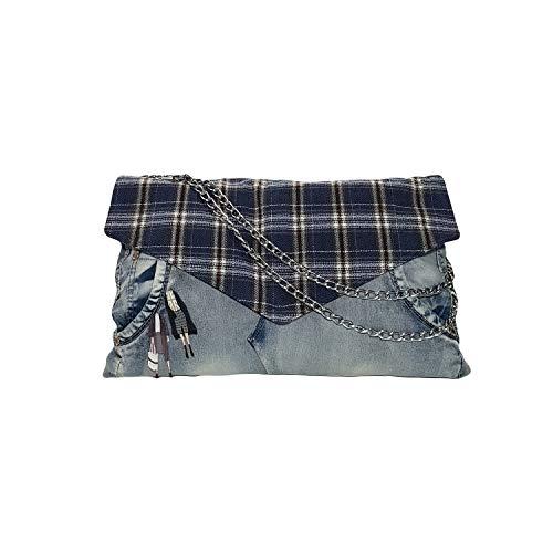 Clutch Tasche, Kleine recycelte Jeans Umhängetasche - Crossbody Bag mit Kette Schulterriemen - Messenger Handtasche mit Reißverschluss - Blau - 38/24 CM