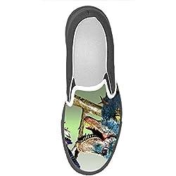 Dalliy Personalizado Dinosaurio Slip-en los zapatos de lona de las mujeres