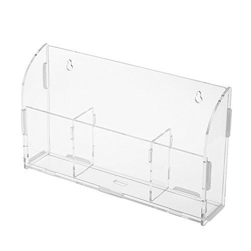 Docooler Acryl Fernbedienung Lagerung Box Handyhalter Kleinigkeiten Wandhalterung Lagerregal Container mit 3 Gitter Ladekabel Loch für Home Office -