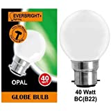 10 x G45 Round Globe Golf Ball Light Bulbs in 40 Watt Bayonet B22 Fitting Opal (White/Pearl/Opaque/Soft) Finish Double Life: 2,000 Hour