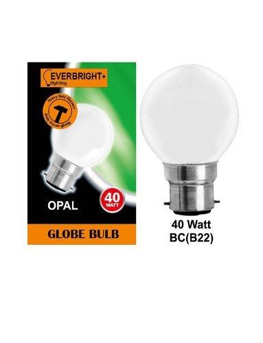 10 x G45 Round Globe Golf Ball Light Bulbs in 40 Watt Bayonet B22 Fitting Opal (White/Pearl/Opaque/Soft) Finish Double Life: 2,000 Hour