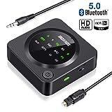 Bluetooth 5.0 Audio Adapter, BOIROS Bluetooth Transmitter Empfänger 2 in 1, LED Anzeige, für TV Laptop Stereoanlage Kopfhörer Lautsprecher,Optisches TOSLINK/RCA/AUX Kabel, aptX HD & aptX LL