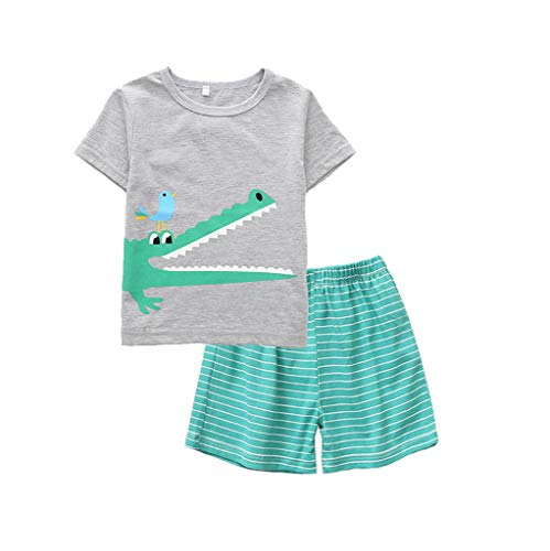 JUTOO 2 Stücke Set Kleinkind Baby Boy Cartoon Tops T-Shirt + Shark Shorts Hosen Outfits Set Nachtwäsche (110, Grau 4) Shark Short Set