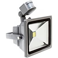 PMS® 10W20W/30W/50W Blanco Cálido LED Foco proyector Luz, Foco proyector con iluminación LED y PIR sensor de movimiento (20 Watts)