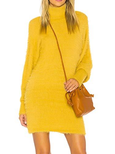 Melegant Damen Herbst Kleid Elegant Kurz Rollkragen Puffärmel Eng Pullover Winter Strickkleid