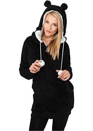 Donna di Urban Classics felpa con cappuccio da donna a forma di orsacchiotto Long TB394 nero / bianco Large